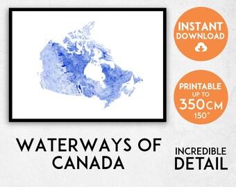 Canada map print, Printable Canada map art, Canada print, Canada art, Canada poster, Canada wall art, Canada gift idea, Waterways of Canada