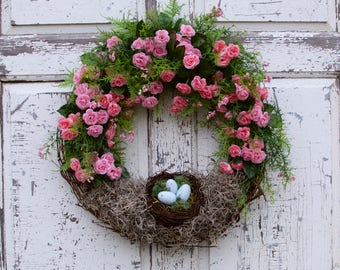 Birds Nest Wreath, Spring Wreath, Mother's Day Wreath, Gift for Her, Natural Looking Wreath, Romantic Wreath, Cottage Chic