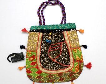 Handmade Ethnic Designer Tribal Banjara Patchwork Embroidered Hippy Fashionable Stylish Trendy Hippie Gypsy Boho Bohemian Carry Bag G270