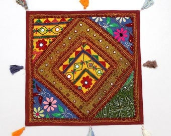 Handmade Hippie Gypsy Home Decor Ethnic Multi color Embroidered Hippy Patchwork Bohemian Pillow Shams Couch Cushion Cover Case G790