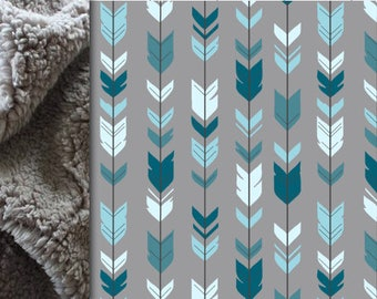 Arrows Baby minky blanket, feather blanket, Teal Blue Gray woodland blanket, boy blanket, child throw blanket, baby shower gift, birth gift