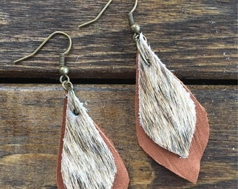 Brindle Cowhide Leather Earrings