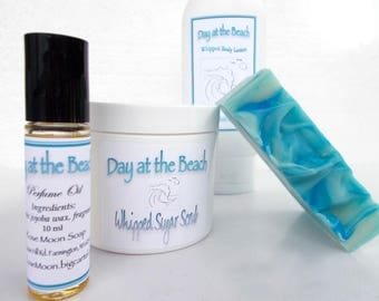 Day at the Beach Spa Gift Set - Organic Perfume, Sugar Scrub, Whipped Body Lotion, Cold Process Soap, Mango Butter, Avocado Oil, Ocean Scent