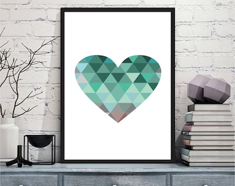 Printable art Digital Prints modern green blue heart wall art printable art, printable prints