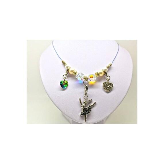 Rhinestone ballerina necklace and swarovski pearls