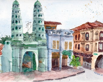 Singapore Mosque Street, Original Watercolor Painting