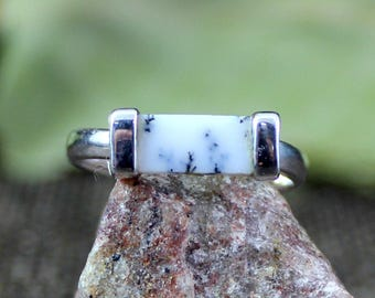 Dendritic Agate Ring, Gemstone Ring, Womens Ring, 925 Sterling Silver Ring, Midi Ring, Band Ring, Handmade Ring, Ring size 6,ETR1109