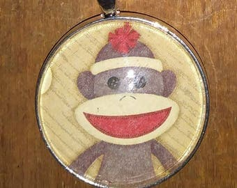 Sock Monkey Necklace - Pendant Necklace - Toy Necklace