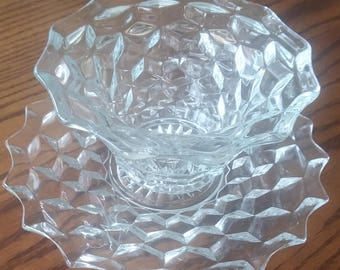 Vintage EAPG Clear Glass Bowl &  Matching Plate