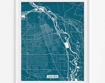 Yakima Print, Washington Poster, Yakima Poster, Yakima Map, Washington Print, Washington Map, Street Map, Home Decor, Valentines Day Gift
