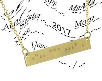 Sister Morse Code, Morse Code Necklace, Morse Code Jewelry, Silver Bar Necklace, Sister Necklace, Bridesmaid Gift, Christmas Gift