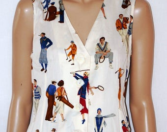 LES COPAINS Vintage Gilet, Sportwear, Women Vest, Waistcoat, Gilè, Colorful Printed Pattern, White Ivory, Size M, UK 12, Taglia 42/44,