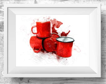 Red Cup Coffee Cup Wall Art Red Tea Cup Art Kitchen Wall Print Kitchen Wall Print Kitchen Wall Decor Red Kitchen Print Wife wall art gift