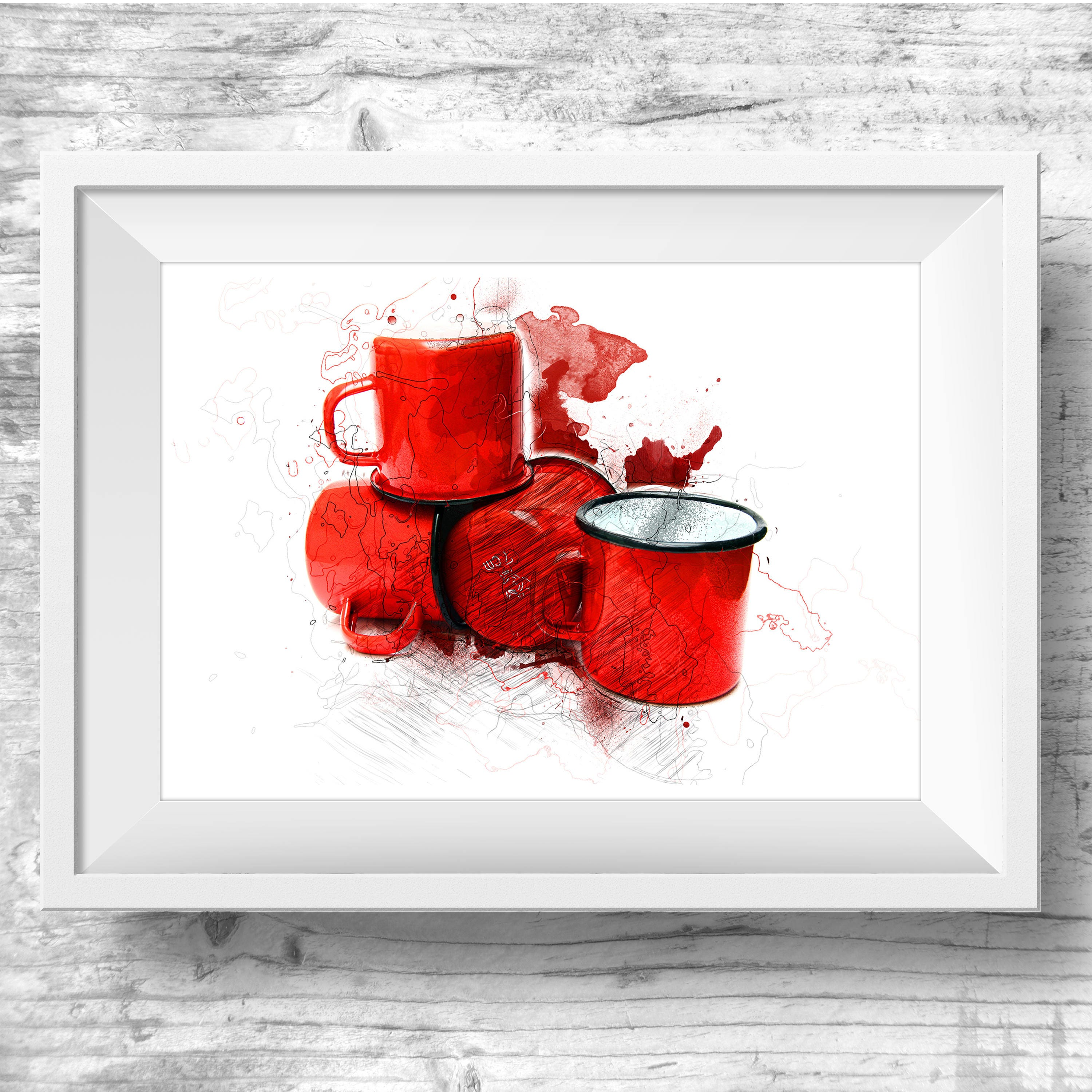 Kitchen Art Red: Red Cup Coffee Cup Wall Art Red Tea Cup Art Kitchen Wall Print
