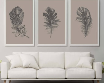 Set of 3 Feather Print Feathers Brown Feather Wall Art Print Home Decor Print Feather Poster Feather Prints Feather Illustration Tropical