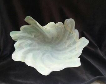 Murano Satin Art Glass Folded Dish