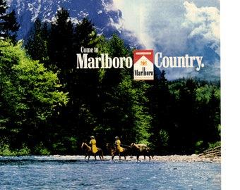 1990s Come to Marlboro Country Original Cigarette Magazine Ad 1707