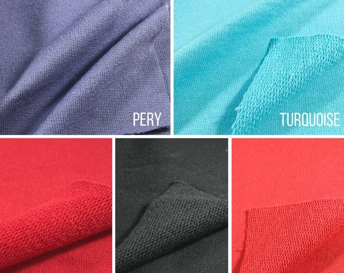 100% cotton French Terry Fabric (Wholesale Price Available By the Bolt) - 6008C2 -USA Made Premium Quality - 1 Yard