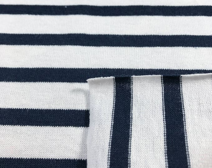 NAVY and White 100% Cotton Striped Jersey Knit Fabric (Wholesale Price Available By the Bolt) USA Made Premium Quality -5499 1 Yard