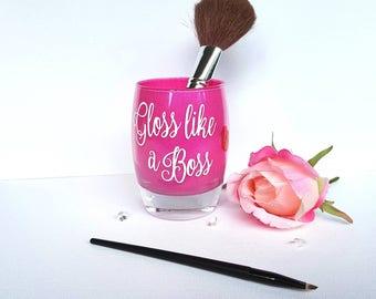 Makeup brush holder, best friend gift, teeneagers gift, bff, 16th, 18th, 21st, 30th birthday gift, glitter brush pot, gloss like a boss