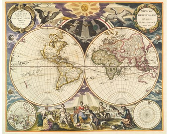 World Map In Renaissance. Colorful world map  Antique Ornate of the Hemispheres Renaissance art Etsy