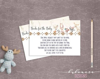 Woodland Animals Bring a Book Baby Shower Game Cute Animals Fox Deer Squirrel Gender Neutral Printable Book Card Quiz Activity - CG007