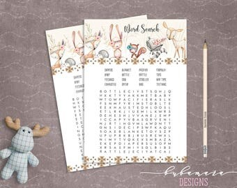 Woodland Animals Word Search Baby Shower Game Cute Animals Fox Deer Squirrel Gender Neutral Printable Trivia Quiz Activity - CG007