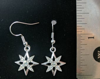 Metal stars with clear stones #226