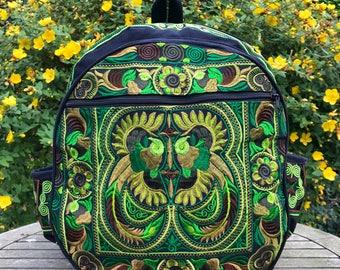 Green embroidered Hmong backpack, boho bag, bohemian bag, hippie backpack, colourful backpack, round backpack, ethnic bag