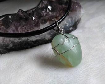 Rainbow Fluorite Crystal Necklace - Boho Style Jewelry - Leather Necklace - Jewelry For Men - Jewelry For Women - Heart Charka #448