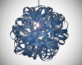 "Handmade Real Wood Lighting, Dahlia Pendant Light 24"", Bullandburd, Blue, Wood Ceiling fixture, Hanging Light Veneer, Modern Wooden Light"