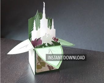 Portland Temple pop up box card download of cut files: svg, dxf, jpg or png, silhouette, cricut, for personal use cutting files
