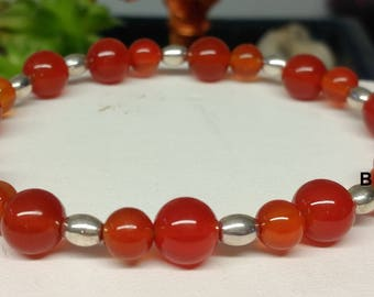 Bracelet carnelian beads 6 and 8 olive color beads silver