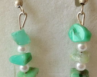 Amazonite earrings, stone of relaxation, chips and white pearls