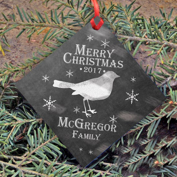 Personalized Christmas Ornament, Cool Contemporary Chalkboard Style, Family's Name and Year, Christmas Tree Ornament, Merry Christmas, Bird