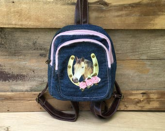 Small Denim Horse Backpack Purse