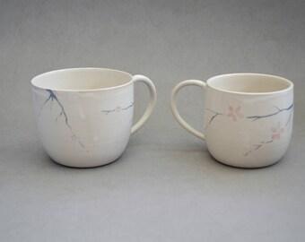 Cherry blossom mugs- Handmade stoneware ceramics