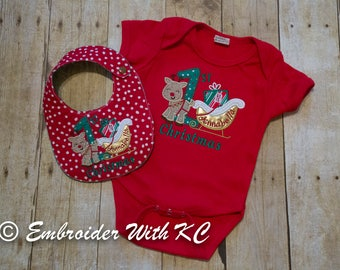 First Christmas Monogrammed Baby Set - Bodysuit & Bib, Baby Ensemble, Baby Shower Gift, Personalized First XMAS, Baby Gift, New Mom Gift