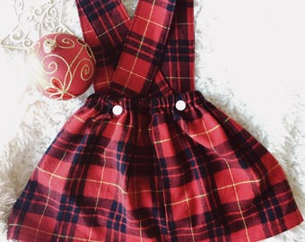 Suspender Skirt - Jumper Skirt - Holiday Skirt - Girls Skirt - Toddler Skirt - Christmas Skirt - Handmade Skirt - Plaid Skirt - Pinafore