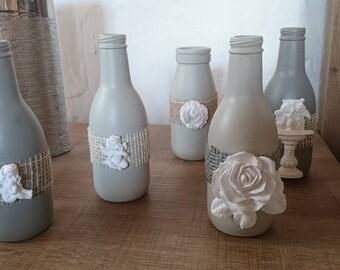 Small vase/bottle/vase cottage/shabby chic