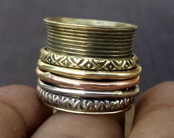 Lining spinner rings band | 3 tone five spinning rings band | Brass jewelry ring | Indian banjara style band | Narrow prayer ring band |R137