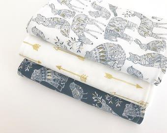 Baby Burp Cloths Set of 3, Baby Gift, Baby Shower, Newborn Burp Cloths, Baby Boy Burpcloths, Woodland Burpcloths