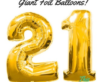 """Gold 21st Balloon Numbers 100cm (40"""") Helium Birthday Party Decorations Giant Foil Balloons"""