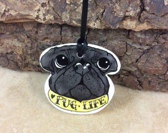 Handmade ceramic pug decoration