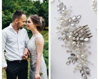 Swarowski Bridal hair comb,Crystals Bridal Wedding, Headband,Hairpiece Bridal Hair Vine,Wedding hair-vine,pearl hair vine 251