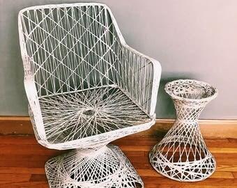 Vintage Russell Woodard Style Fiberglass Chair + Plant Stand Set