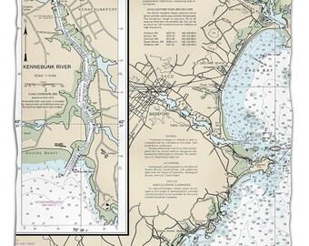 ME: Biddeford, ME Nautical Chart Fleece Throw Blanket, Map Blanket