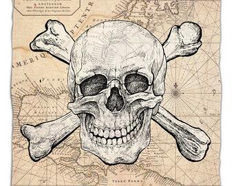 Skull & Crossbones Old World Nautical Chart Fleece Throw Blanket, Map Blanket, Pirate Throw Blanket