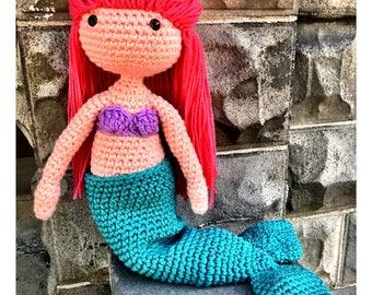 Crochet Mermaid Doll, Children's Plush Mermaid Doll