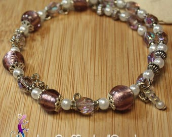 Old pink lampwork beads and faceted Beads Bracelet vintage